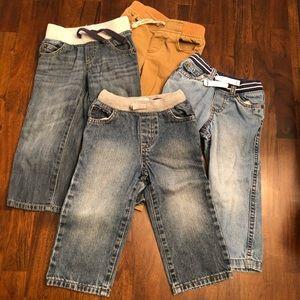 Bundle of 4 Toddler Boys Jeans/Cargo Pants
